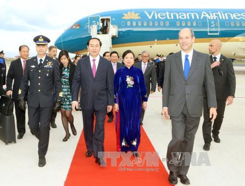 Chủ tịch nước Trần Đại Quang đến thăm Italy. Ảnh: TTXVN