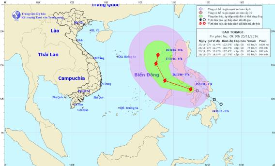Áp thấp nhiệt đới ở biển Đông mạnh lên thành bão Tokage. Ảnh: TTKTTVTW