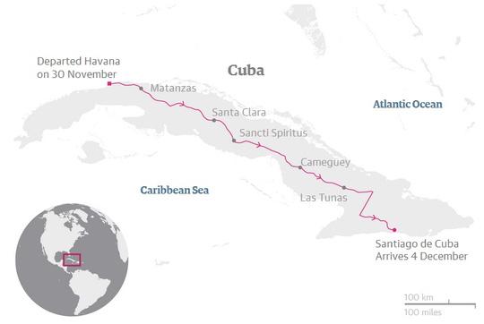 Hành trình của tro cốt lãnh tụ Fidel. Đồ họa: Guardian