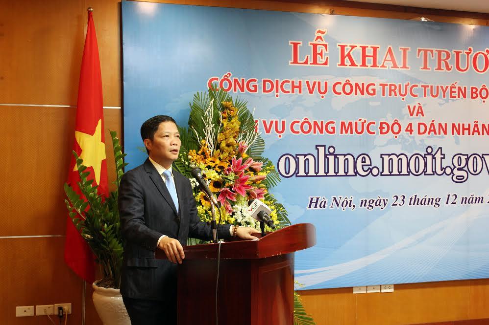 Bộ trưởng bộ Bộ Công Thương Trần Tuấn Anh phát biểu tại Lễ khai trương Cổng Dịch vụ công trực tuyến
