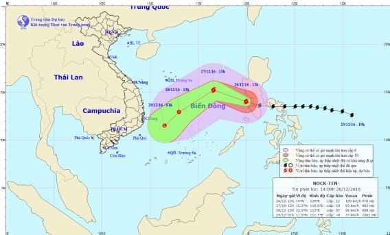 Vị trí và hướng đi tiếp theo của cơn bão Nock-ten. Ảnh: TTKTTVTW