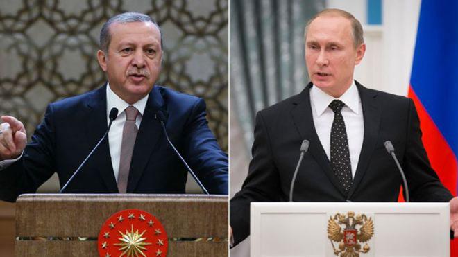 Chiến sự Syria: Tổng thống Thổ Nhĩ Kỳ Tayyip Erdogan và người đồng cấp Nga Vladimir Putin.