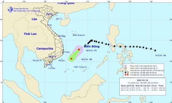 Bão số 10 - bão Nockten suy yếu thành áp thấp nhiệt đới. Ảnh: TTKTTVTW
