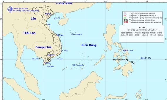 Vị trí hướng đi của áp thấp nhiệt đới trên biển Đông. Ảnh: TTKTTVTW