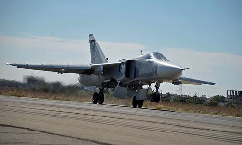 Chiến sự Syria: Máy bay cường kích ném bom Su-24 của Nga. Ảnh: RT.