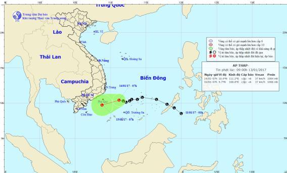 Áp thấp nhiệt đới trên biển Đông bất ngờ hoạt động mạnh trở lại. Ảnh: TTKTTVTW