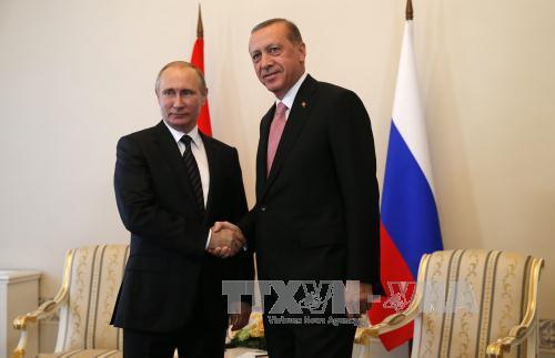 Chiến sự Syria: Tổng thống Nga Vladimir Putin (trái) và Tổng thống Thổ Nhĩ Kỳ Recep Tayyip Erdogan. Ảnh: EPA/TTXVN