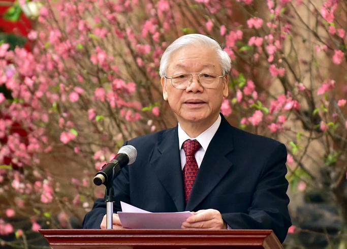 Tổng Bí thư chúc Tết lãnh đạo, nguyên lãnh đạo Đảng, Nhà nước. Ảnh: VGP