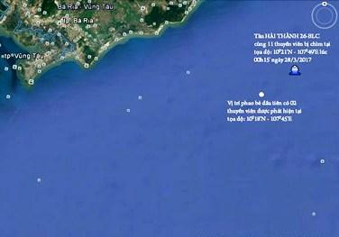 Vị trí tàu Hải Thành bị chìm và vị trí phát hiện 2 thuyền viên. Ảnh: VGP