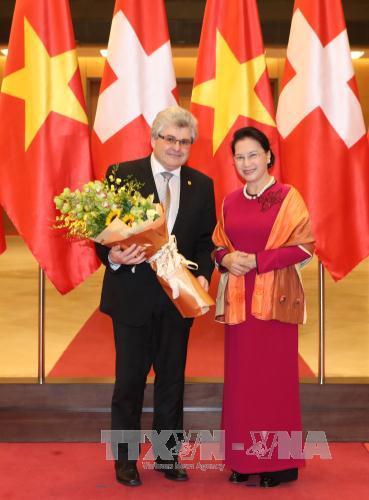 Chủ tịch Quốc hội Nguyễn Thị Kim Ngân đón Chủ tịch Thượng viện Thụy Sĩ Ivo Bischofberger. Ảnh: Trọng Đức/TTXVN