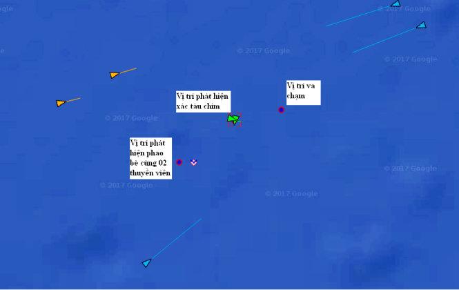 Vị trí chìm tàu Hải Thành 26 đã được xác định. Ảnh: Vietnam MRCC