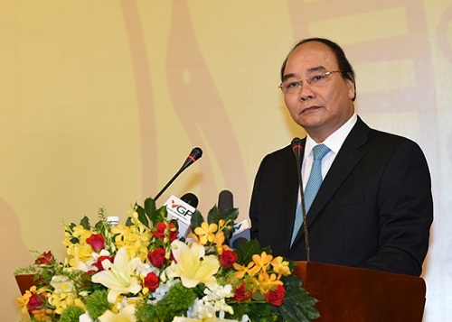 Thủ tướng Nguyễn Xuân Phúc phát biểu tại Hội nghị. Anh: VGP