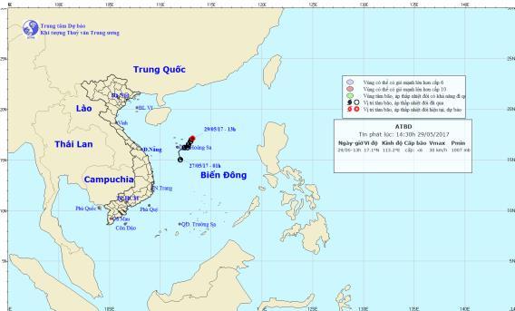Vị trí và hướng đi của Áp thấp nhiệt đới trên biển Đông. Ảnh: TTKTTVTW