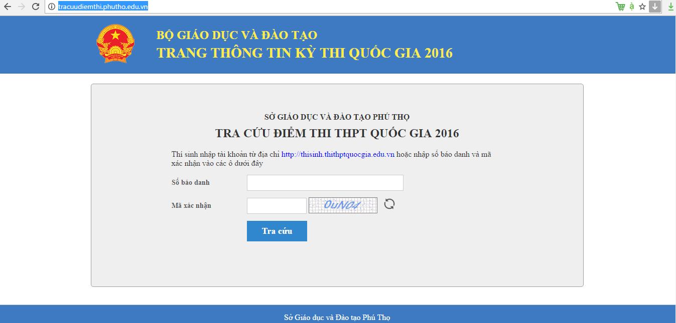 Giao diện cổng tra cứu điểm thi THPT quốc gia 2017 tỉnh Phú Thọ