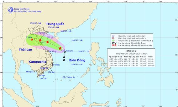 Cơn bão số 2 sẽ gây mưa lớn ở khu vực Bắc và Trung Bộ. Ảnh: TTDBKTTVTW