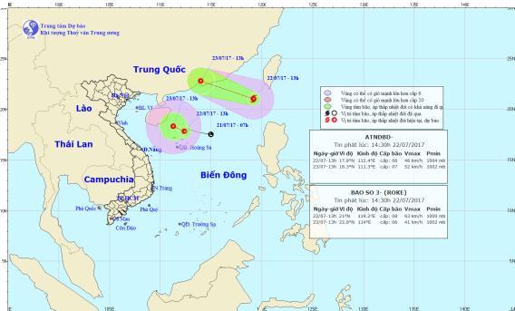 Vị trí và hướng đi của con bão số 3. Ảnh: TTDBKTTVTW