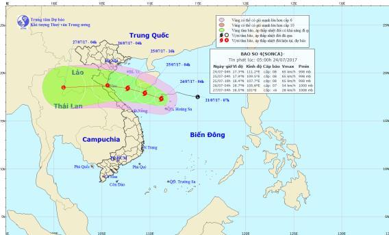 Vị trí và hướng đi của cơn bão số 4. Ảnh: TTDBKTTVTW