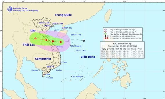 Vị trí và hướng di chuyển của cơn bão số 4. Ảnh: TTDBKTTVTW