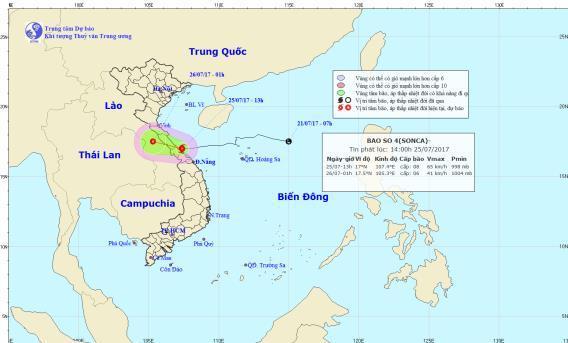 Trong 3 giờ tới bão số 4 sẽ đổ bộ vào đất liền các tỉnh từ Hà Tĩnh đến Quảng Trị. Ảnh: TTDBKTTVTW