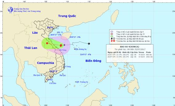 Cơn bão số 4 sẽ đổ bộ vào miền Trung nước ta vào tối nay. Ảnh: TTDBKTTVTW