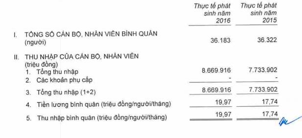 Nguồn: BCTC riêng lẻ đã được kiểm toán của Agribank năm 2016.