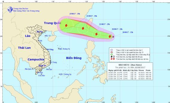 Vị trí và hướng đi của cơn bão Hato. Ảnh: TTDBKTTVTW