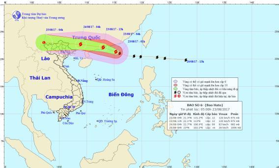 Vị trí và hướng đi của cơn bão số 6 trên biển Đông. Ảnh: TTDBKTTVTW