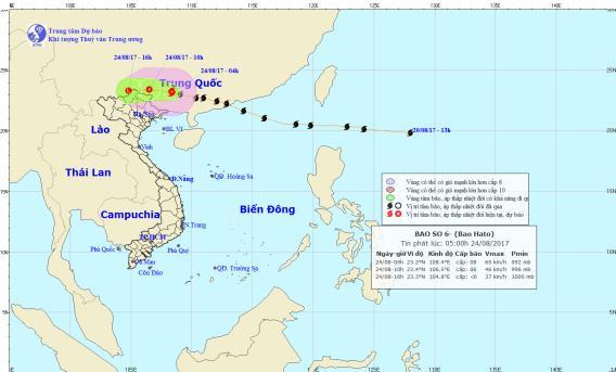 Cơn bão số 6 gây mưa lớn ở toàn bộ khu vực các tỉnh Bắc Bộ. Ảnh: TTDBKTTVTW