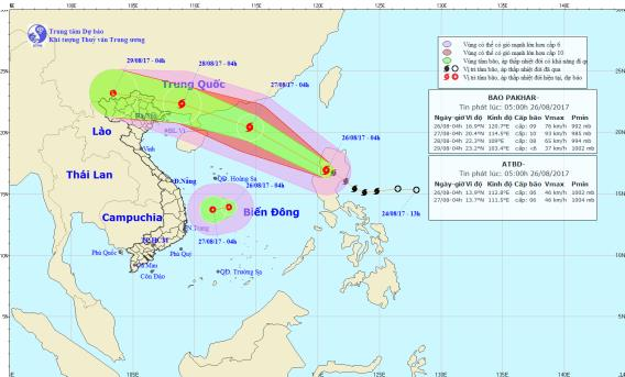 Vị trí, hướng đi của áp thấp nhiệt đới và cơn bão Pakhar. Ảnh: TTDBKTTVTW