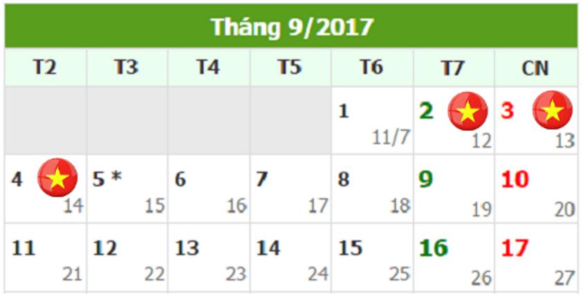 Lịch nghỉ lễ 2/9/ 2017 của người lao động