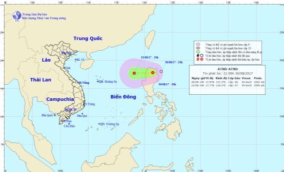 Xuất hiện áp thấp nhiệt đới gần biển Đông. Ảnh: TTDBKTTVTW