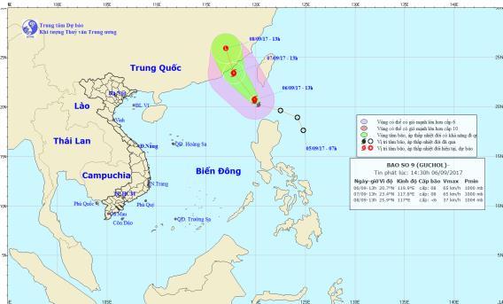 Cơn bão số 9 đã tiến vào biển Đông. Ảnh: TTDBKTTVTW