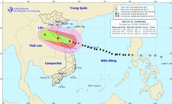 Vị trí và hướng đi của cơn bão số 10. Ảnh: TTDBKTTVTW