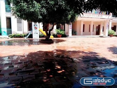 Trường mầm non Quảng Thái vắng học sinh vì nhiều phụ huynh không đưa con tới trường. Ảnh phụ huynh cung cấp cho báo GDVN