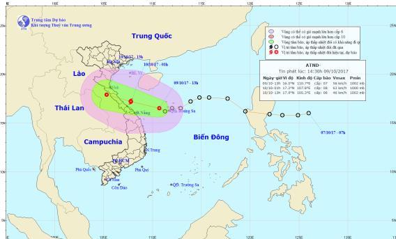 Vị trí và hướng đi của áp thấp nhiệt đới. Ảnh: TTDBKTVTW