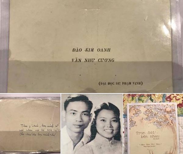 Thiệp cưới của thầy Văn Như Cương và cô Đào Kim Oanh. Ảnh: Facebook Văn Thùy Dương