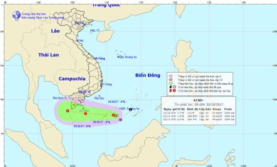 Áp thấp nhiệt đới sẽ gây mưa lớn ở Nam Bộ. Ảnh: TTDBKTTVTW