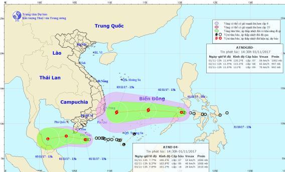 Vị trí, hướng đi của bão số 14 và áp thấp nhiệt đới trên biển Đông. Ảnh: TTDBKTTVTW