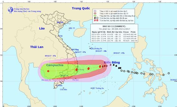 Hướng di chuyển của cơn bão số 12. Ảnh: TTDBKTTVTW