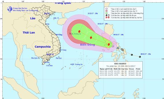 Áp thấp nhiệt đới đã mạnh lên thành cơn bão Haikui. Ảnh: TTDBKTTVTW