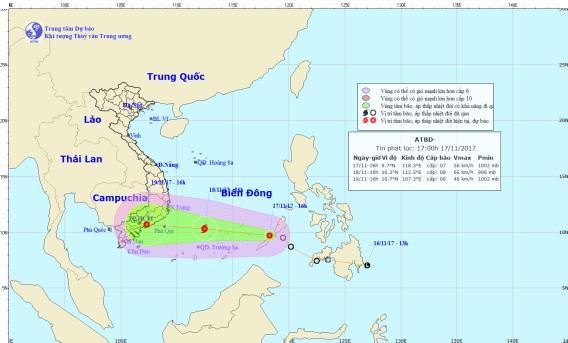 Vị trí và hướng đi của áp thấp nhiệt đới trên biển Đông. Ảnh: TTDBKTTVTW