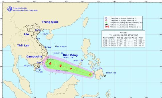 Vị trí và hướng đi của áp thấp nhiệt đới. Ảnh: TTDBKTTVTW