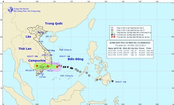 Bão số 14 suy yếu thành áp thấp nhiệt đới. Ảnh: TTDBKTTVTW
