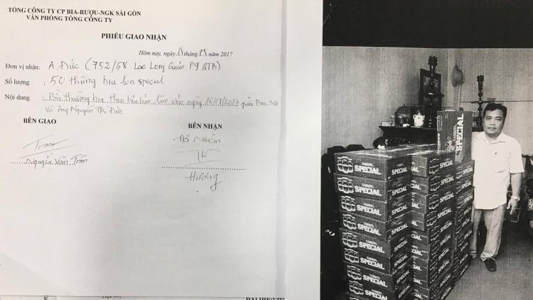 Phiếu giao nhận bia và ông Đức bên cạnh 50 thùng Special bồi thường (Ảnh chụp từ tài liệu do Sabeco cung cấp)