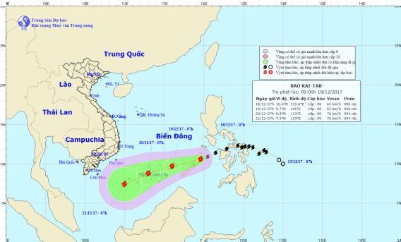 Vị trí và hướng đi của cơn bão Kai-tak gần biển Đông. Ảnh: TTDBKTTVTW