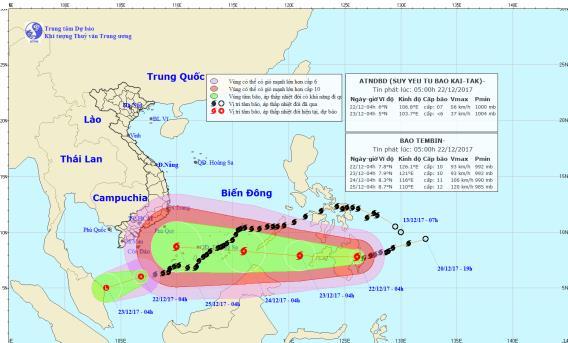 Cơn bão Tembin đang di chuyển vào biển Đông. Ảnh: TTDBKTTVTW