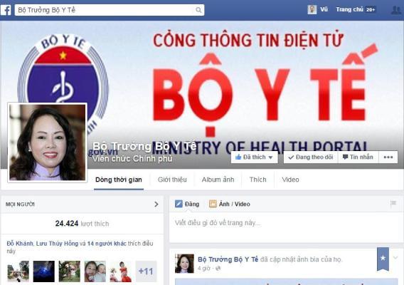 facebook của bộ trưởng bộ y tế