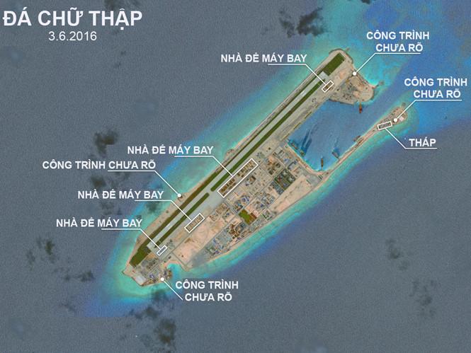 Công trình trái phép của Trung Quốc trên đá Chữ Thập, thuộc quần đảo Trường Sa của Biển Đông Việt Nam