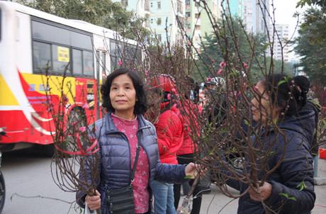 Ở chợ hoa trên đường Hoàng Minh Giám, giá đào chơi Tết giảm từ 120.000 đồng xuống 80.000 - 90.000 đồng