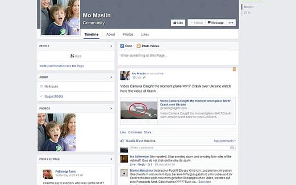 Một trang Facebook giả mạo danh tính nạn nhân trên máy bay Malaysia MH17 để trục lợi